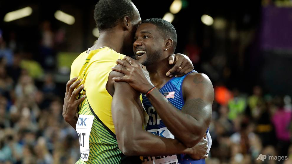 Athletics: Jeered Gatlin gatecrashes Bolt's 100m farewell party