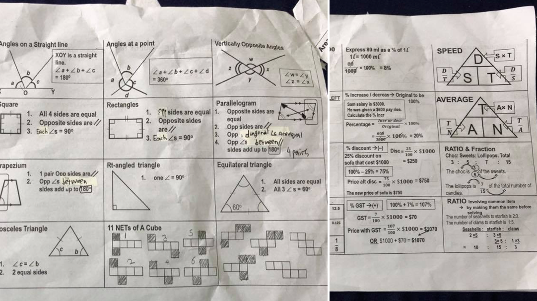 Parents in S'pore intensely sharing PSLE maths cheat sheets on Facebook