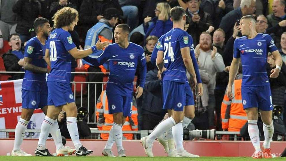 Football: Super sub Hazard dumps Liverpool out of League Cup
