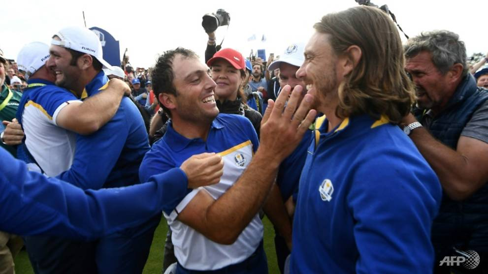 Golf: Europe hold off tense US fightback for Ryder Cup triumph