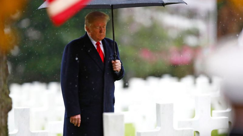 Trump says he was too busy 'on calls' to honor soldiers on veterans day