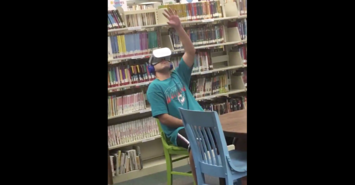 Guy caught watching vr porn in library because headphones weren't plugged in