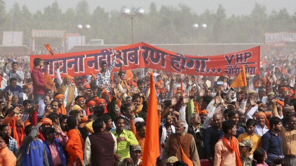 Thousands of Hindu hardliners rally in India for controversial temple