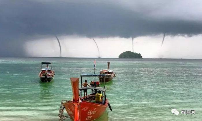 罕见异象,泰国丽贝岛海域4柱龙卷风齐现!