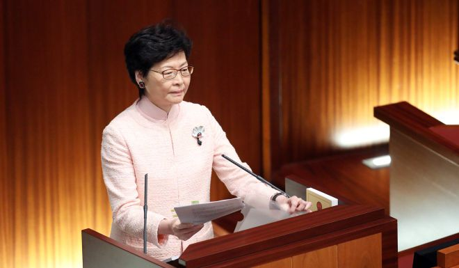 Carrie Lam's legco question and answer session ends in chaos, with three pro-democracy lawmakers expelled over protest