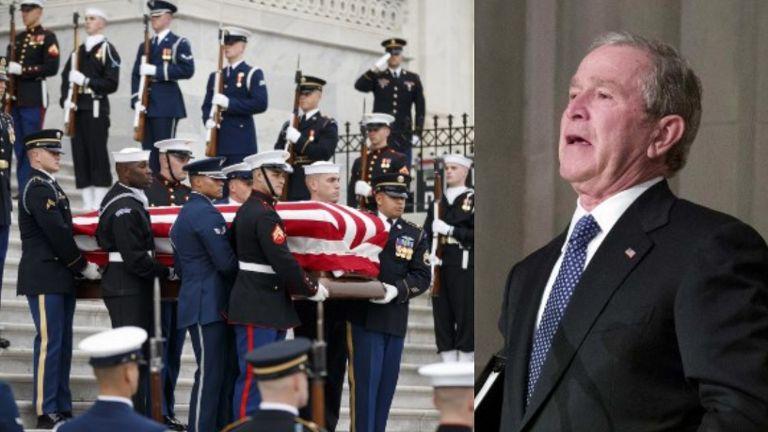 老布什国葬今日举行 小布什致悼一度哽咽