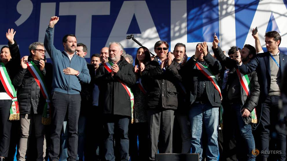 Surging in the polls, Italy's Salvini stages mass Rome rally