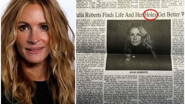 角色vs洞 茱莉亚-罗伯茨专访标题打错闹笑话