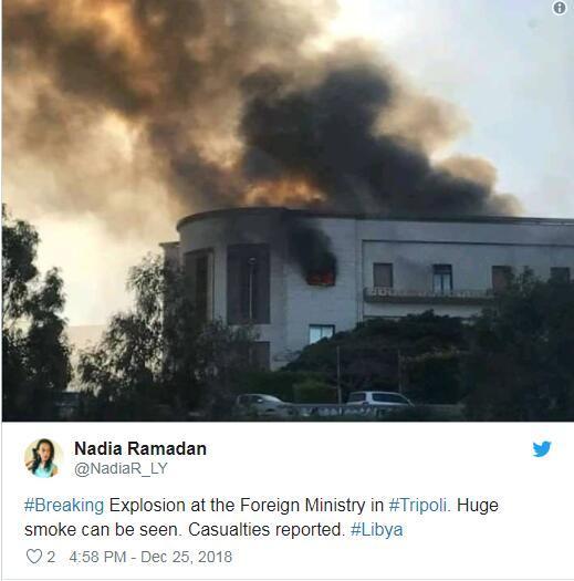 外媒:利比亚外交部遭袭 现场浓烟滚滚职员被疏散