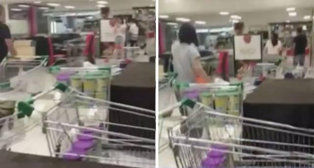 澳媒:疑似中国消费者在澳超市疯抢奶粉 搬空货架
