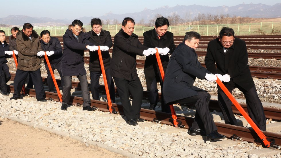 Work begins on railways connecting North and South Korea but no trains will run while sanctions remain