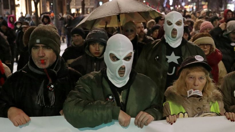 Serbia protests: Thousands march against President Vucic