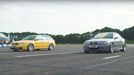 BMW E46 M3 CSL meets Audi RS4 B5 at drag strip