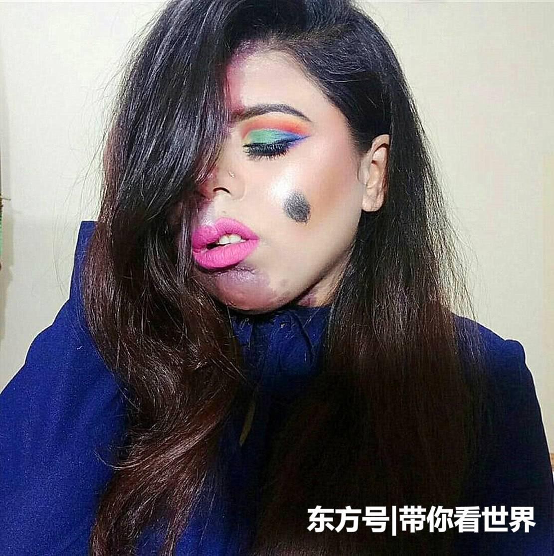 """国外女子患罕见""""变色胎记""""备受歧视,今用高超化妆术重获自信"""
