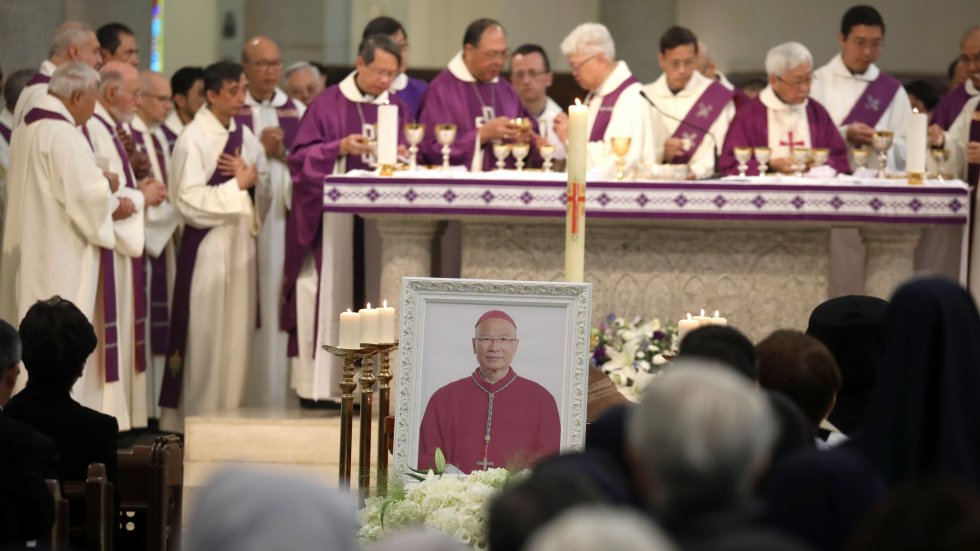 Top officials join Hong Kong Catholics in packed cathedral for Bishop Michael Yeung's funeral mass