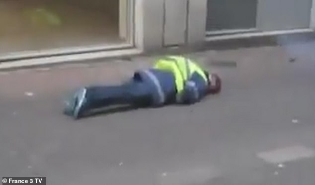 Shocking video shows fireman Yellow Vest protestor shot in the back of the head by French police, leaving him with serious brain injuries, as protests against Macron continue