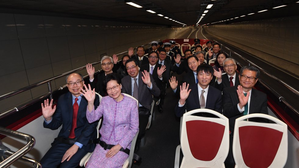 Seek common ground and rise to the challenge of developing infrastructure, Carrie Lam tells Hongkongers as Central-Wan Chai Bypass opens