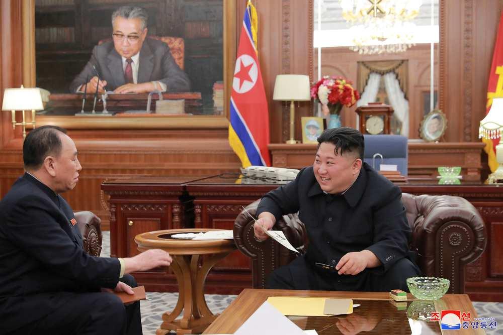 N. Korea's Kim expresses satisfaction for pre-summit negotiations, praises Trump, says KCNA