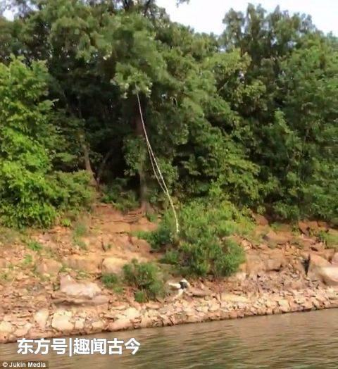 美国一女子在从岸上荡到湖里时严重摔伤 致左脚骨折