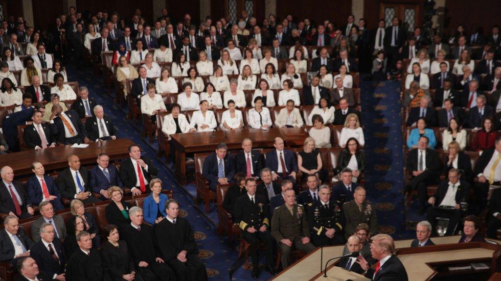 Women wore white, men wore dark suits: contrast laid bare gender gap between Democrats and Republicans
