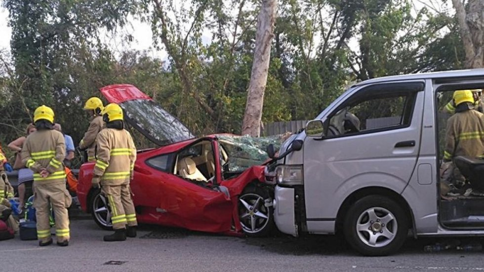 Four injured and HK$1.7 million Ferrari destroyed in two-vehicle collision near popular Hong Kong tourist attraction