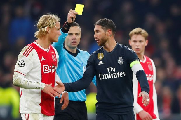 Real's Ramos says he got yellow card on purpose against Ajax