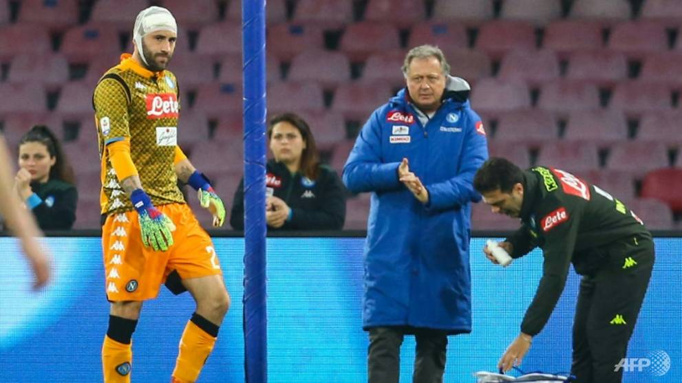Football: Napoli keeper Ospina improving after head injury scare