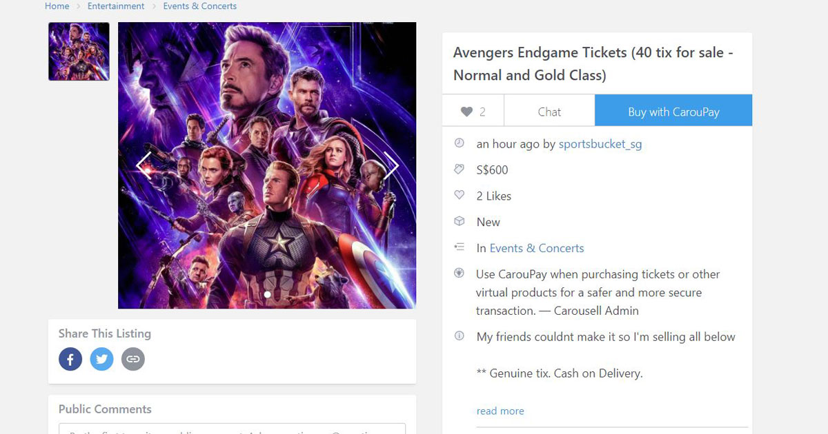 S'pore Carouseller says 40 friends abandoned him, selling 40 Avengers: Endgame tickets at S$120 per pair