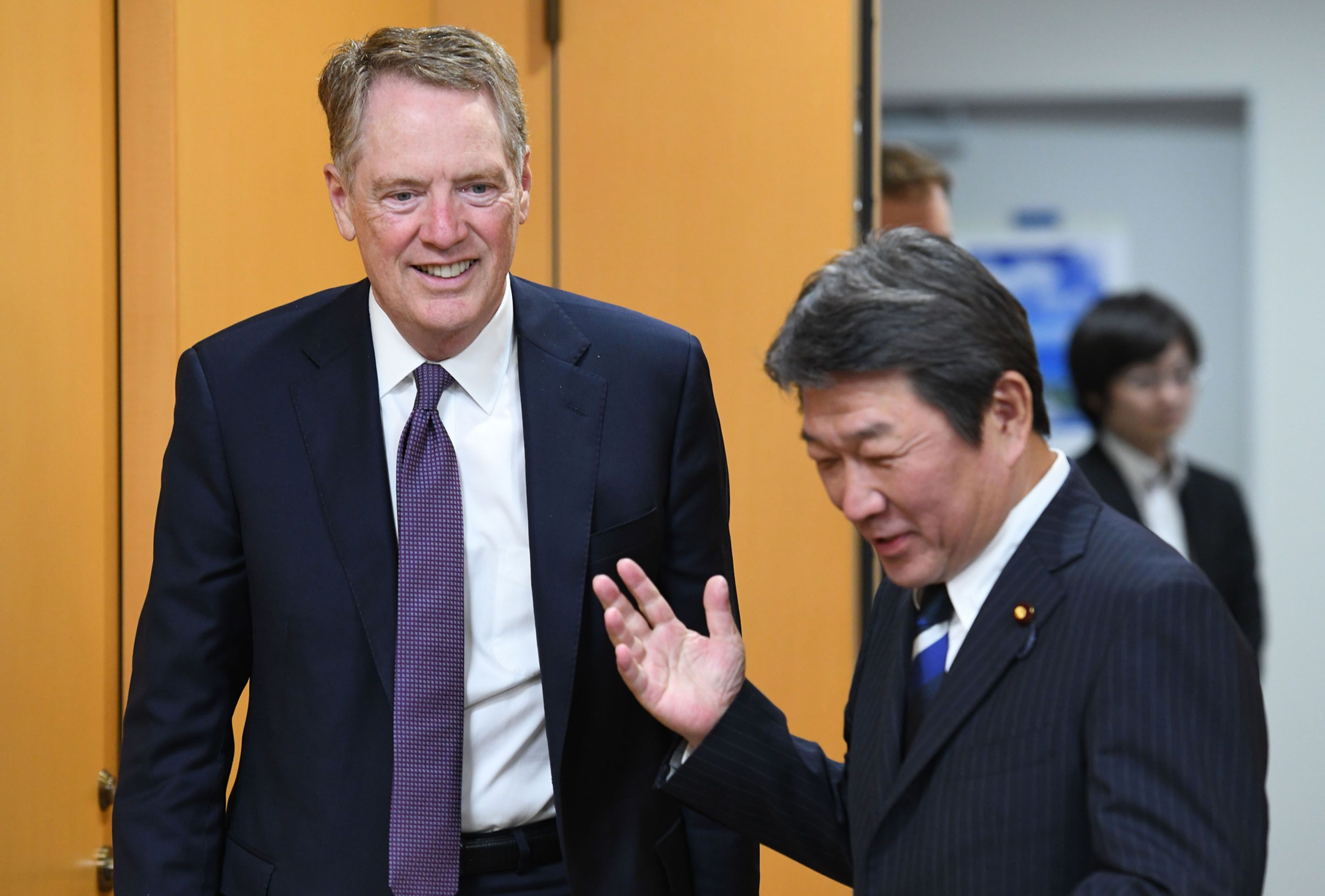 No Japan-U.S. Deal by Monday's Trump-Abe Meeting, Motegi Says