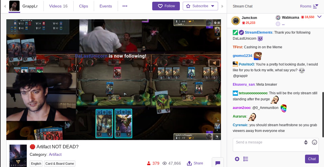 Twitch's Artifact section has become a waking nightmare