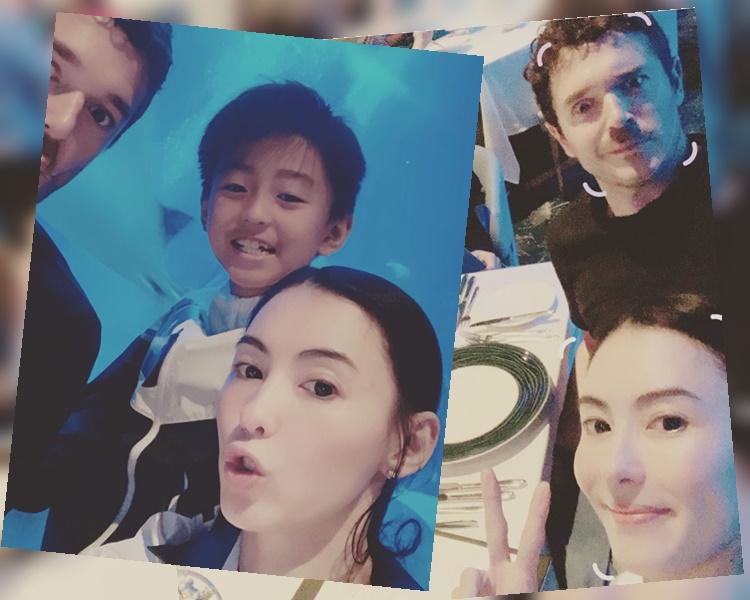 张栢芝携3子游新加坡 晒疑似细仔英籍生父合照