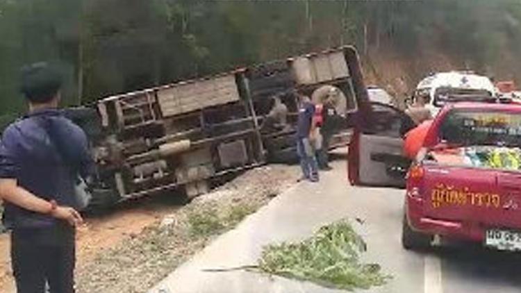 清迈大巴侧翻11名中国乘客受伤 或因车速过快