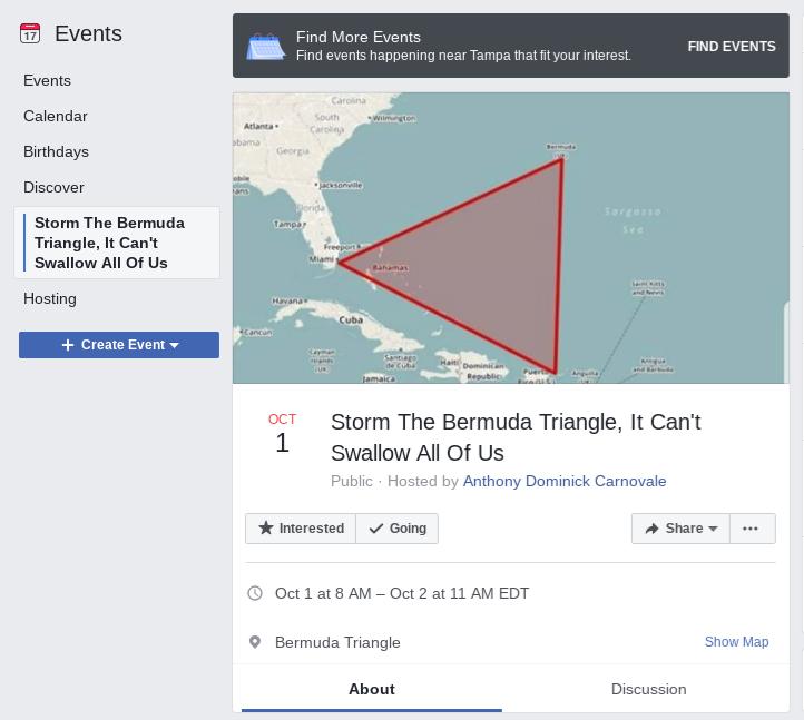 继「Area 51」突袭活动!网民再挑战传说中的「魔鬼三角海域」?!
