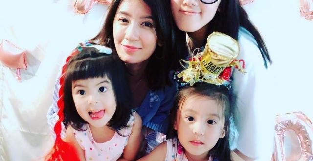 贾静雯晒与女儿们合照为4岁咘咘庆生 发文感慨:家有三妞好幸福