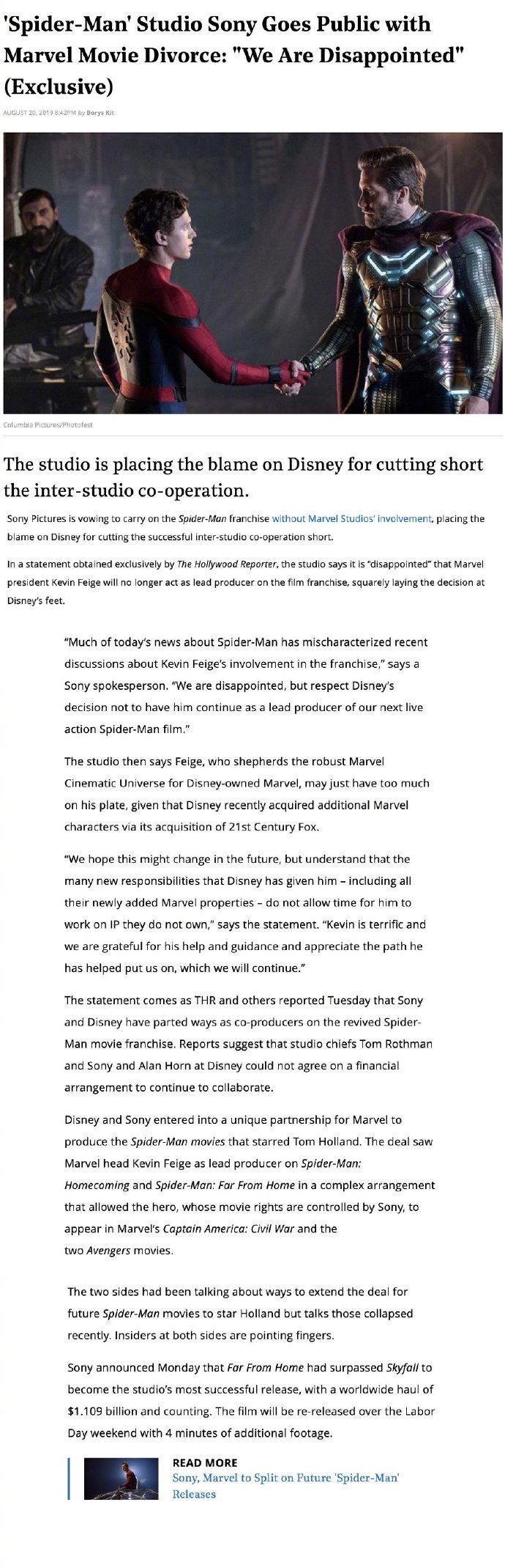 """蜘蛛侠退出漫威宇宙 索尼官方回应失望但尊重 """"希望未来能有改变"""""""