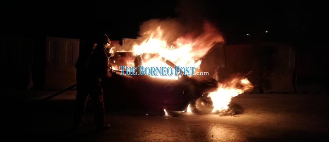 Car seriously damaged after engine catches fire at Permyjaya Road in Miri