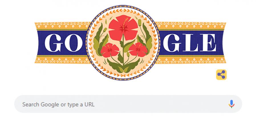 谷歌大红花涂鸦艺术庆国庆