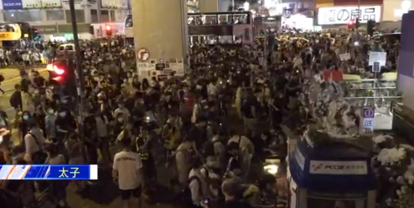 【修例风波】示威者走出弥敦道及太子道西交通受阻