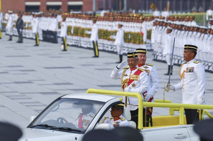 元首夫妇出席军旗游行及检阅仪式