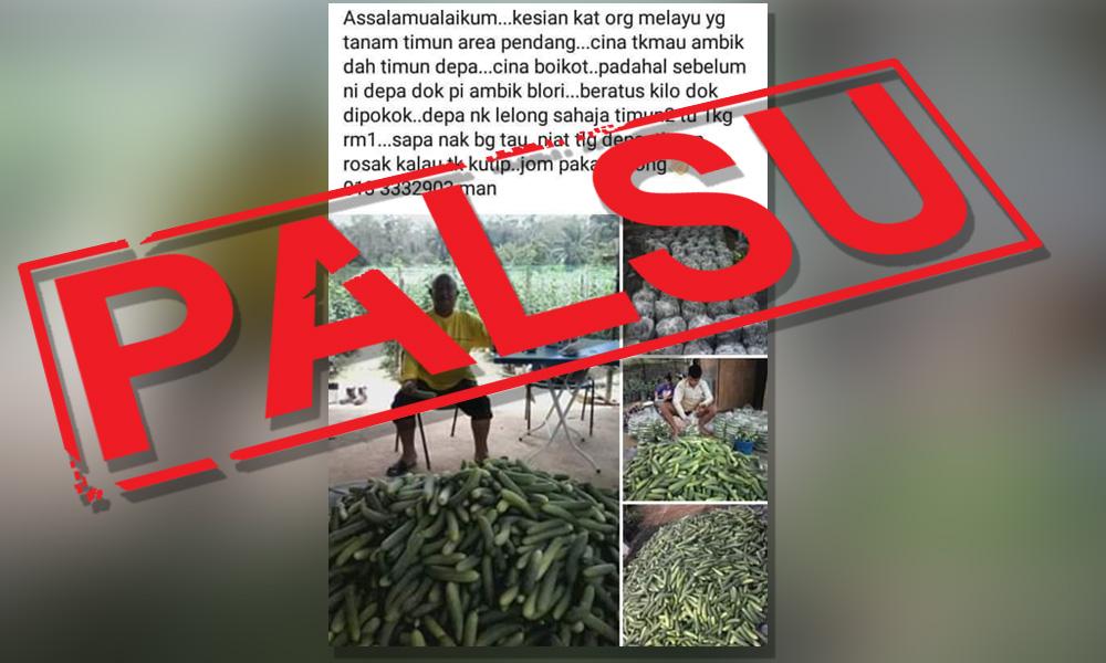 False! Viral post on Chinese traders boycotting Malay farmers