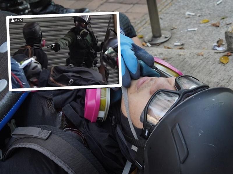 【修例风波】警员荃湾受袭开实弹枪 示威者中枪送院(片段)