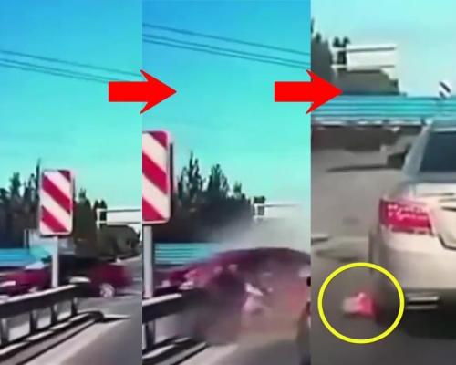 货车撞私家车 3岁童飞出车外落入车底险遭辗过