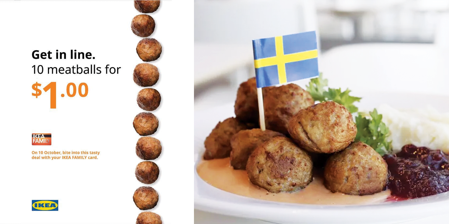Ikea s'pore will give 10 meatballs for $1 on 10 Oct if you flash their family card