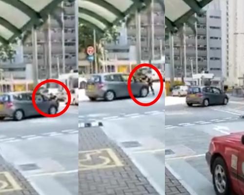 【片段】大埔私家车直撞黑衣男 未收油行驶一段再停车