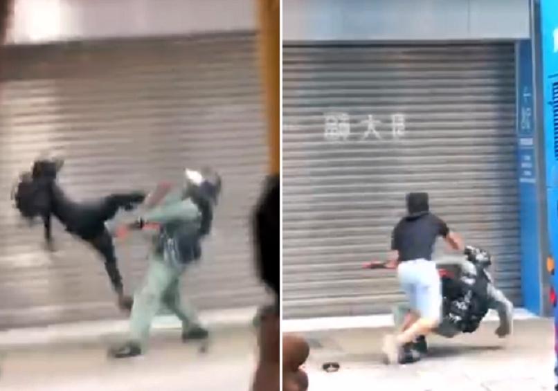 【修例风波】旺角防暴警拉扯黑衣人 遭示威者起飞脚殴打