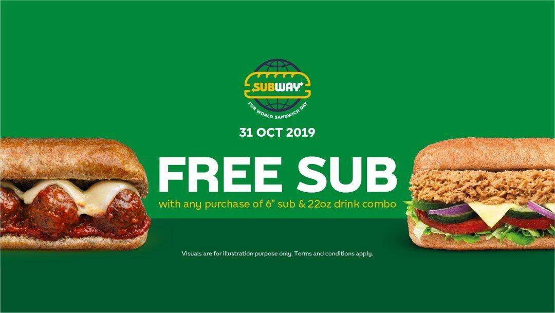 Subway Mengadakan Promosi 'Buy 1 Free 1' Sandwich & Minuman Pada 31 Oktober Ini. Bestnya!