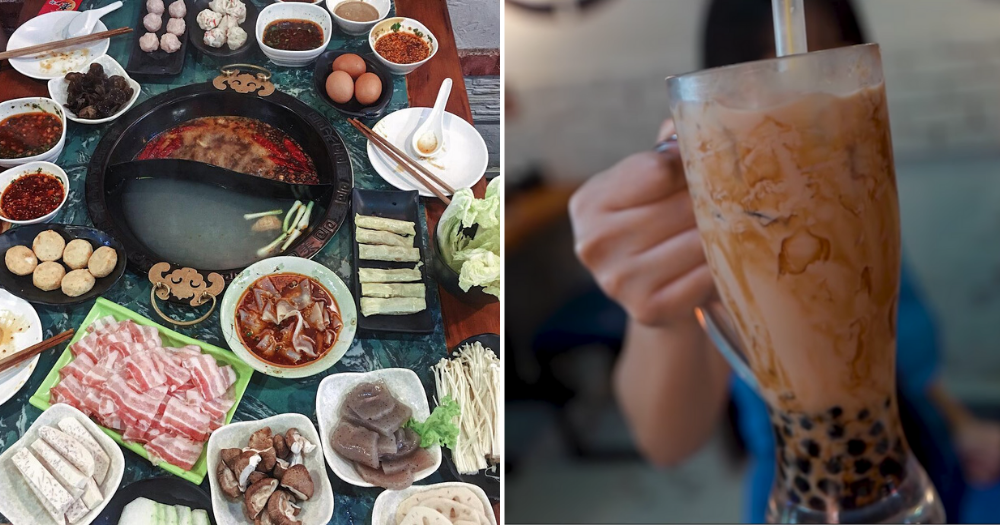 Chinatown hotpot restaurant with frog meat & fish head soup comes with free flow bubble tea