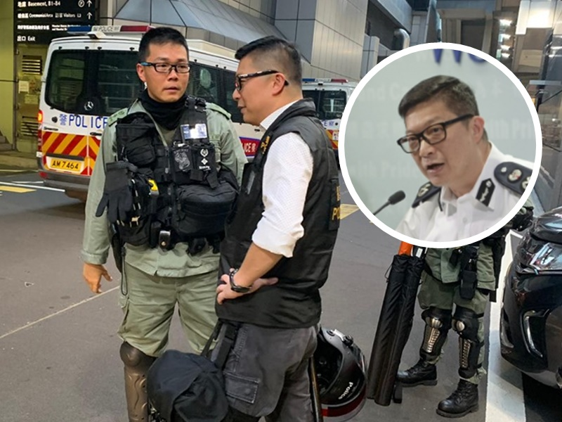 【维港会】网传邓炳强「落场」参与行动 穿CID背心备警棍头盔