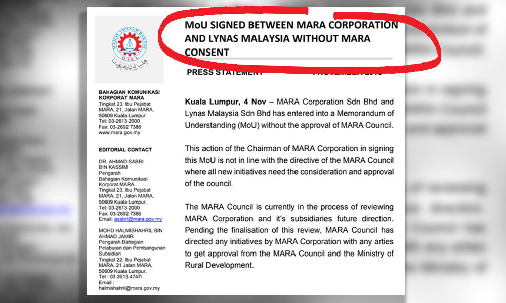Mara Council unhappy subsidiary inked MOU with Lynas without approval