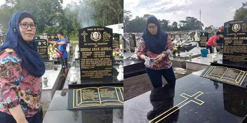 Muslim woman dutifully cleans grave of her Christian grandmother on All Souls' Day